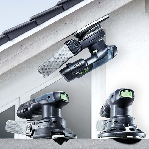 Festool Sanders go cordless! (But the cord is still optional if you want/need it...) The new hybrid cordless compact sanders: RTSC 400, DTSC 400 and ETSC 125. Available October 2.