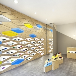 The Suppakids Sneaker Boutique in Stuttgart, Germany is home to a fine collection of kids footwear. Unique interior designed by ROK.