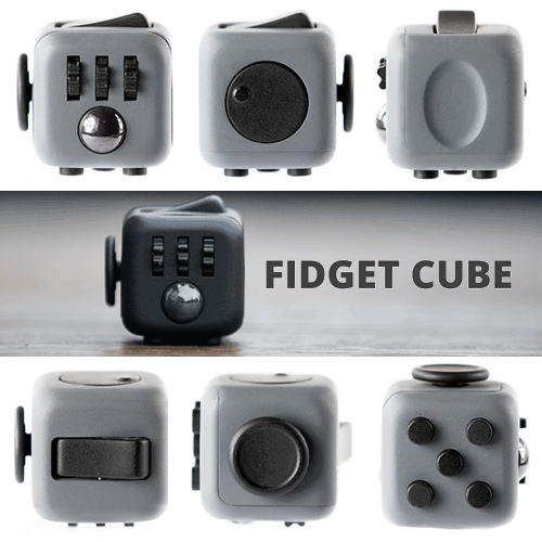 Fidget Cube Kickstarter by Matthew and Mark McLachlan. You can click, spin, roll, glide, flip, and even breathe as you rub the simplest worry stone like surface.