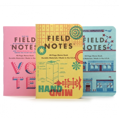 United States of Letterpress is the latest limited edition memo book collection from Field Notes. Three sets of books feature covers designed and printed by nine letterpress artists and studios.