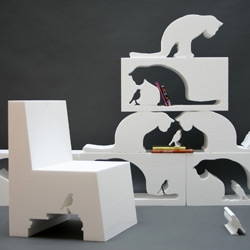 Play with negative space in this series of foam furniture called FILL IN THE CAT