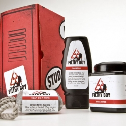 Filthy Boy is the ultimate line of bath and body products geared towards the locker room jock.