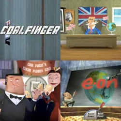 Coalfinger ~ an animated bond-like campaign by Greenpeace - Along with his dopey sidekick Dr. Anthracite, Coalfinger plans to cover the world in coal-fired power stations and destroy the climate in Operation Browncloud.