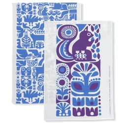 Marimekko Kanteleen Kutsu Violet Tea Towel Set - The design, Kanteleen Kutsu, was created by Sanna Annukka and was inspired by a scene from the Kalevala.