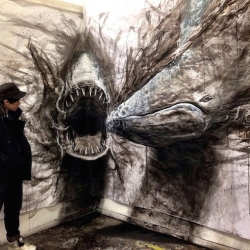 Life-Sized Drawings of Animals that Look 3D by Vancouver-based art student Fiona Tang.