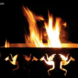 A beautiful new fire basket, when lit dancing fire dragons appear! Great for coming season!