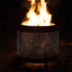 "House & Fig - ""$10 DIY One Hour Upcycled Firepit"" from a recycled washing machine drum! Surprisingly simple and beautiful."