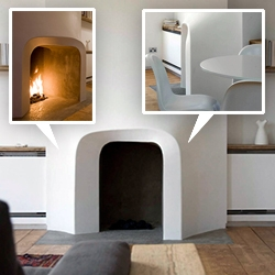 Scenario Architecture's fireplace design for a Victorian terrace home in North London is stunning - and magically one directional!
