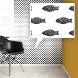 KEK Amsterdam Candy Wallpaper 088 with black licorice fish on white.