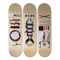 Burning Dojo skate deck triptych by FAKIR. Limited edition of 30 by Last Concept Shop.