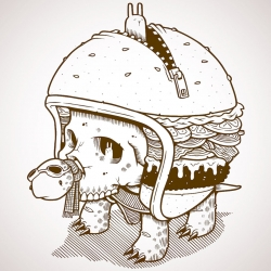 Free Jeremy Fish Print with orders at Upper Playground ~ fun turtle/skull in a burger helmet/shell...