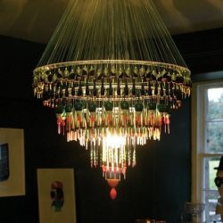 An amazing chandelier meticulously constructed using fishing floats and nylon fishing gut. 'Beautiful' is the last thing on my mind when I think of fishing gear.