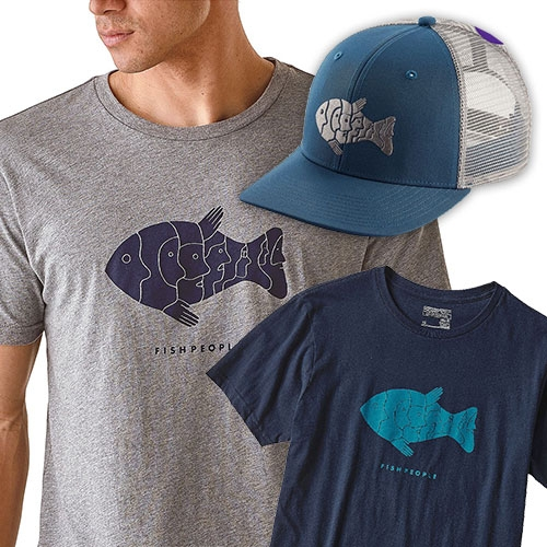 Patagonia Fishpeople graphic tee and hat with image by Geoff McFetridge.