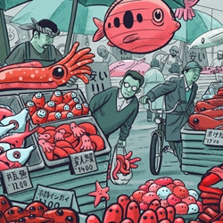 Come and buy some humble mussels or happy starfishes on 'Fishmarket' by Mateusz Kolek.