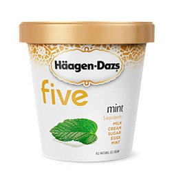 "Haagen Dazs FIVE ~ ""all natural ice cream crafted with only five ingredients for incredbily pure, balanced flavor... and surprisingly less fat"" ~ Nice clean packaging too!"