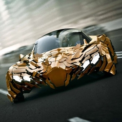 Designer Da Feng has a highly futuristic concept car that uses hinged carbon fiber 'flakes' to help brake and turn.