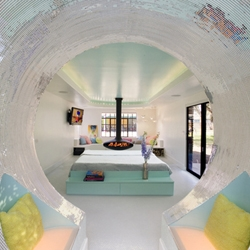 Take a look inside the bizarro pod-like bathroom of The Flaming Lips' frontman Wayne Coyne.