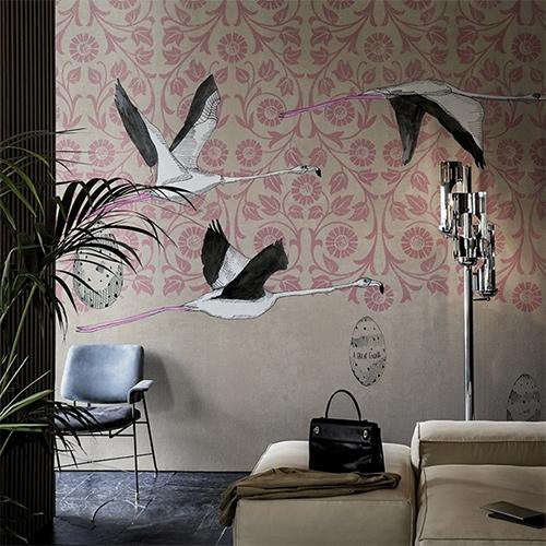 Wall & Decò Great Escape Wallpaper by The Elusive Otter. Fun flamingos!