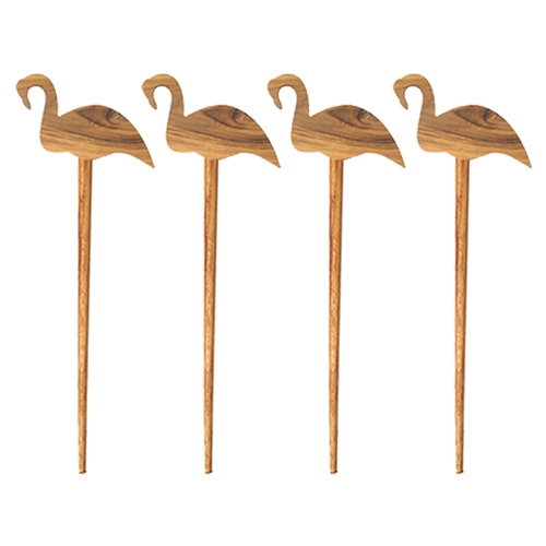 Teak Flamingo Picks by Be Home. Handcrafted in Thailand.