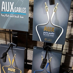 Griffin Technology has some awesome packaging and design details on these new Premium Flat Aux Cables... also fun, crazy booth design at CES.