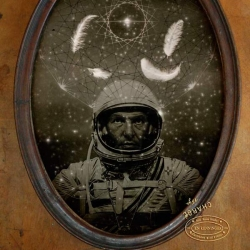 New paintings and sculptures for the Fleeting Immersions pop shop gallery show: Santa Fe Astronaut.
