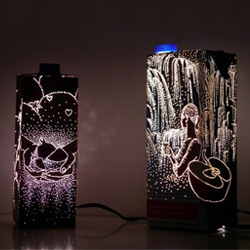 Anke Weiss has created a series of beautiful lights from recycled food and drink packaging.