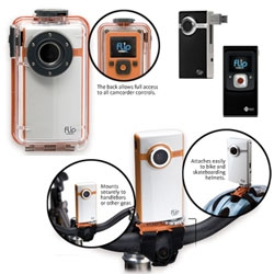 Flip Video Ultra - that tiny idiot-proofed video camera with the flip out USB now has an Underwater Housing and Action Mount! Can you imagine the silly things you can do with such a low cost underwater video camera?