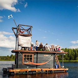 Steam Boat: Floating Sauna. A group of Finnish friends decided to take the comforts of steam to the water by building a floating, multi-level sauna.
