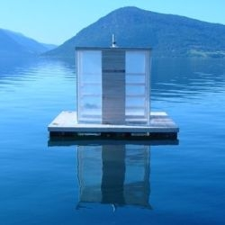 Three works by architect/teacher Sami Rintala: Boxhome, Hotel Kirkenes and Floating Sauna (shown).