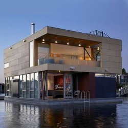 A new floating home in Seattle, Washington's Lake Union.  Designed by Vandeventer+Carlander Architects.