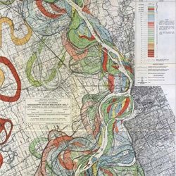 Stunning visual maps of the Mississippi's flood plains produced in 1944 by Harold N. Fisk.