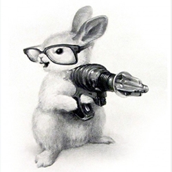 Amazing series of prints by Xiau-Fong Wee. Floof the bunny is my favorite, also see the penguin, mouse, duck, and pigeon... with guns.