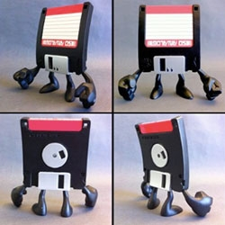 Squid Kids Ink's A-Drive ~ your old floppy disks gets reborn as a vinyl toy!
