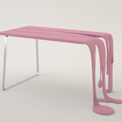 French Designer Florent Defourc created this melting bench. Just a bubblegum coloured concept for the moment.