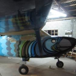 Brazilian artists Mack Viralata and Godri Eu paint two skydiving planes in Floripa 2010.