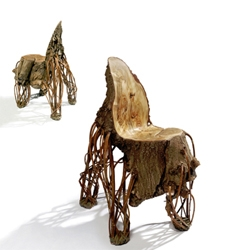 Floris Wubben's Upside Down chair made from an inverted willow tree.