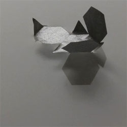 Video of Flottille, micro-origami shapes that open in the water by capillarity. BY Etienne Cliquet.