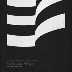 Six Architects ~ poster series by Roosterfish. Minimalist posters depicting Modernist greats of architecture.