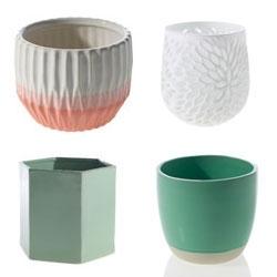Hofland Pots/Planters! Loving the Sunrise Pots, Bumble Pots, Tula Pots, and Plume Vase.