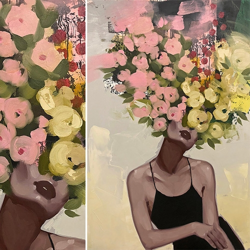 Anna Kincaide Paintings feature lovely ladies (often in little black dresses) with bursts of flowers over the heads...
