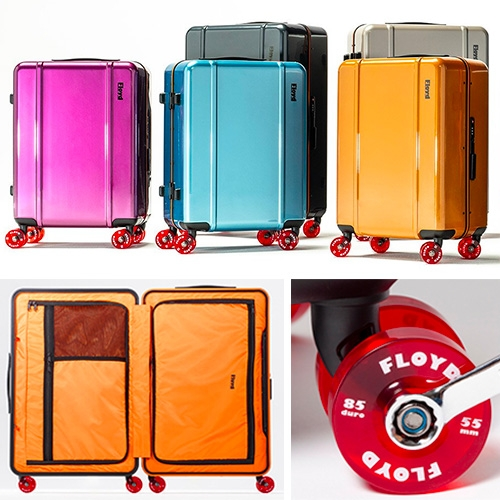 Floyd Travel Cases on Wheels - Inspired by 70's Venice socal skateboard culture and Cadillac Wheels (a new soft polyurethane skateboard wheel in '73) these suitcases are a playful twist on hardshell suitcases.