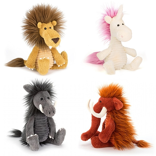 Jellycat SnaggleBaggles - fluffy haired super soft stuffed animals