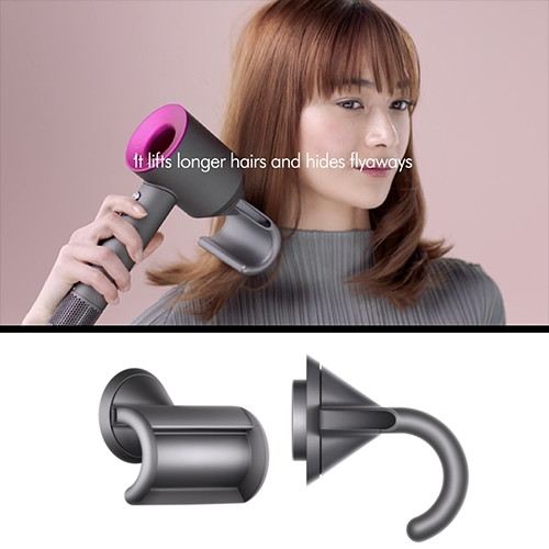 Dyson Supersonic Hairdryer Flyaway attachment - fascinating hook design to blow hair such that it lifts longer hairs and hides fly aways below!