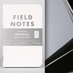 Field Notes seasonal 'Northerly' edition with silver ink and embossed cover.