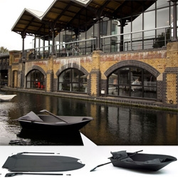 The Foldboat at the Dock in london ~ amazing to see it in action as well as how compactly it can be flattened.