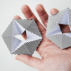 Kaleidocycle folding paper toy... print and cut and fold and then flip it round and round through the different patterns.