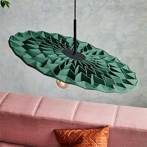 Fold Pendant Light for Northern designed by Foldability.  The light is made from wool fabric treated with a lamination process and supported by an inner structure that holds its shape.