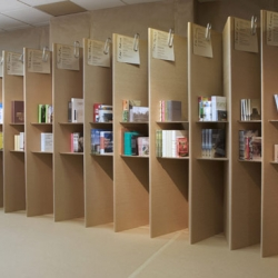 A cardboard installation by the designers from Campaign : Foldaway Bookshop is a specialist architecture bookshop.