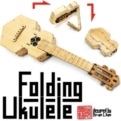 Amazing folding ukulele designed by origami master and 'maker of anything' Brian Chan. Lasercut from bamboo. Available as a DIY kit or assembled instrument.