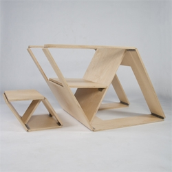 Brainstream Design's Folding Chair and Ottoman. Inspired by pop-up books, the Folding Chair is modern solution for nomadic living.